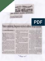 Manila Bulletin, Aug. 1, 2019, Palace considering vaccine to address dengue outbreak.pdf