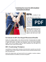 Top 10 Most Promising Use Cases for RPA Enabled Automation in Retail.