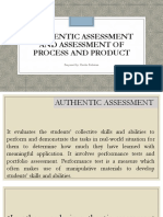 Authentic Assessment and Assessment of Process and Product Ppt