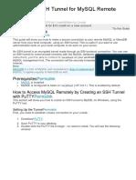 Create an SSH Tunnel for MySQL Remote Access
