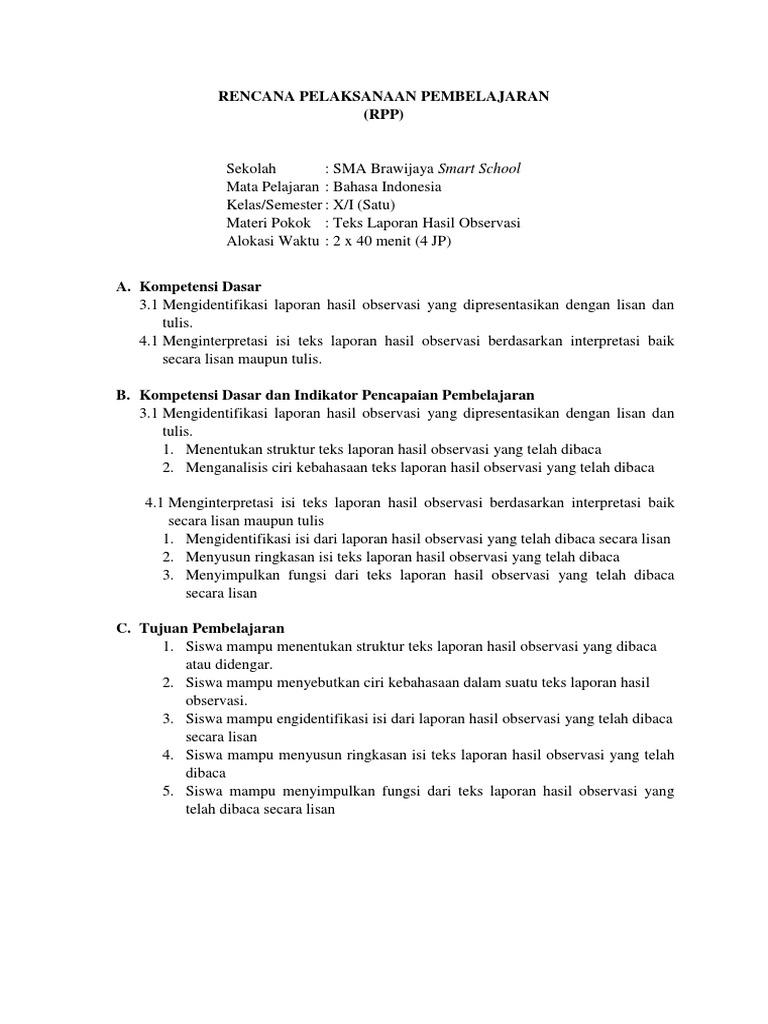 Rpp Bahasa Indonesia Kelas 10 J Teks Laporan Hasil Observasi