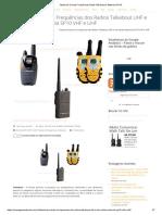 Tabela de Canais Frequências Radio Talkabout e Motorola SP10