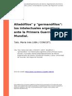 Tato, Aliadófilos y germanófilos. Los intelectuales argentinos ante la I Guerra Mundial