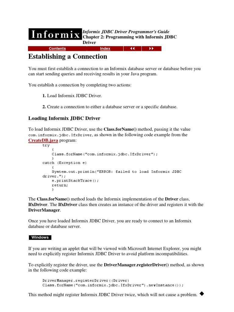 INFORMIX JDBC Driver Programmer's Guide | Databases | Computer