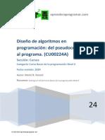 Diseño de Algoritmos Programacion Del Pseudocodigo Al Programa