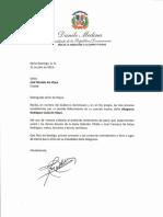 Carta de condolencias del presidente Danilo Medina a José Dionisio De Moya por fallecimiento de su madre, Altagracia Rodríguez viuda De Moya