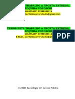 Portfóio Gestão Publica 3 e 4 Semestre - Temos a Pronta Entrega Whatsapp 91988309316 E-mail Portfoliouniversitario@Gmail