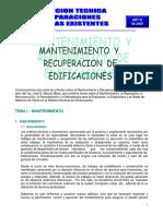 MANTENIMIENTO Y RECUPERACION DE EDIFICACIONES