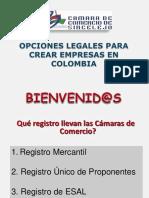 OPCIONES PARA CREAR EMPRESAS EN COLOMBIA - Charla Camara Comercio 2012.pptx