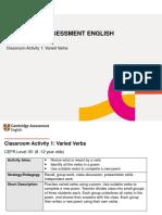 Classroom Activities 1 Varied Verbs