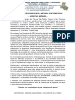 Comunicado a La Opinion Publica Nacional e Internacional 1 Agosto 2019.