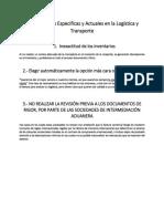 Problemáticas Especificas y Actuales en La Logística y Transporte