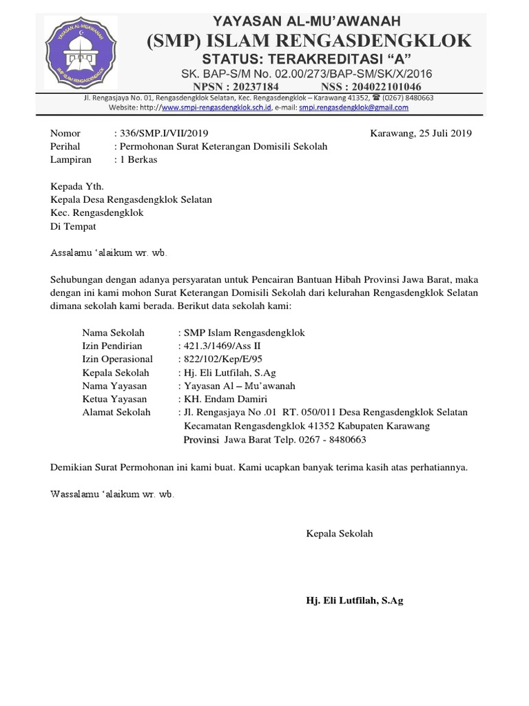 Surat Permohonan Domisili Sekolah