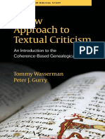 A New Approach to Textual Criticism an Introduction to the Coherence-Based Genealogical Method