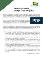 Calendario Previo de Oracion Por Bolivia