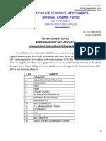 Islamia College Advt 2019