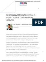 Foreign Investment in Retail in India – Restrictions and Way Around - Singhania and Partners