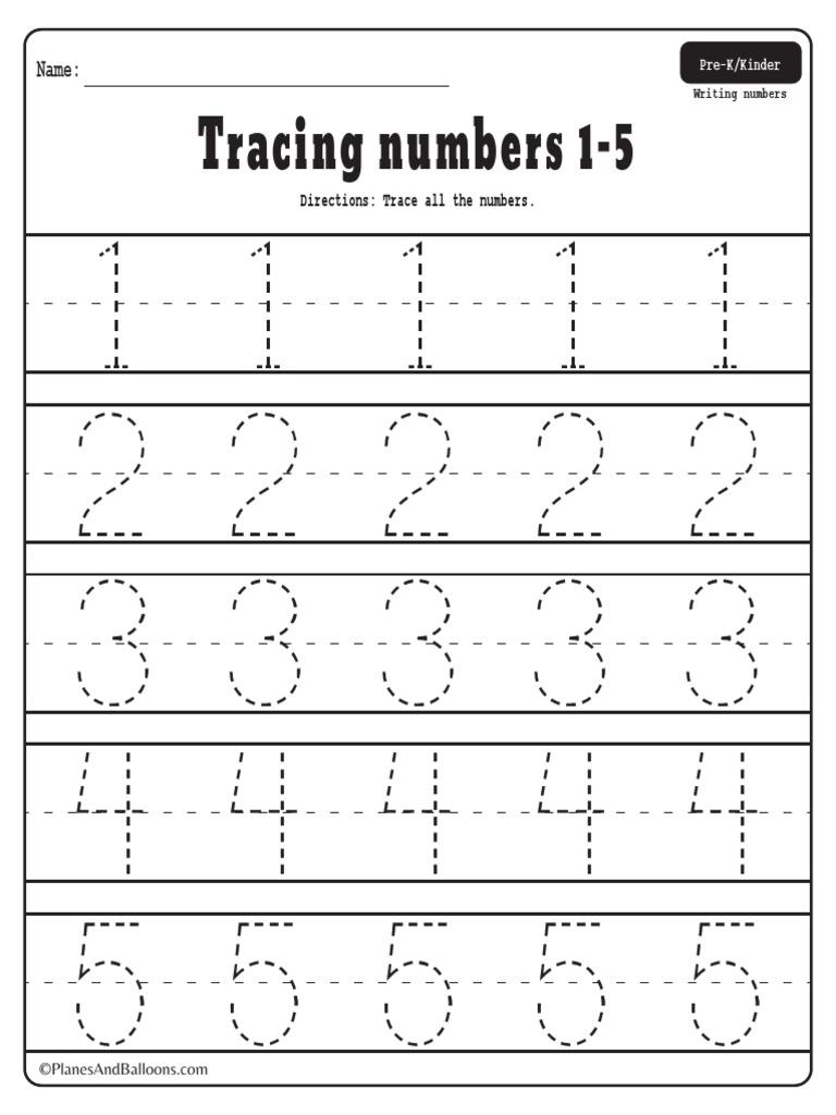 Number Tracing Worksheets 1-20