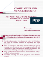 FEMA Compliance and Recent Policies on FDI - CA Manoj Shah