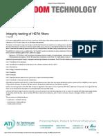 Integrity Testing of HEPA Filters