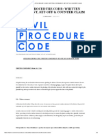 Civil Procedure Code_ Written Statement, Set-Off & Counter Claim