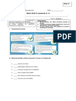 8º Quiz Unit 2 Lesson 3- 4 RA