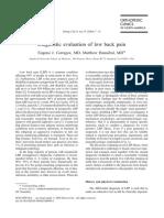 Diagnostic Evaluation of Low Back Pain