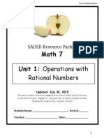 Unit of Study #1 Operations With Rational Numbers 15-16