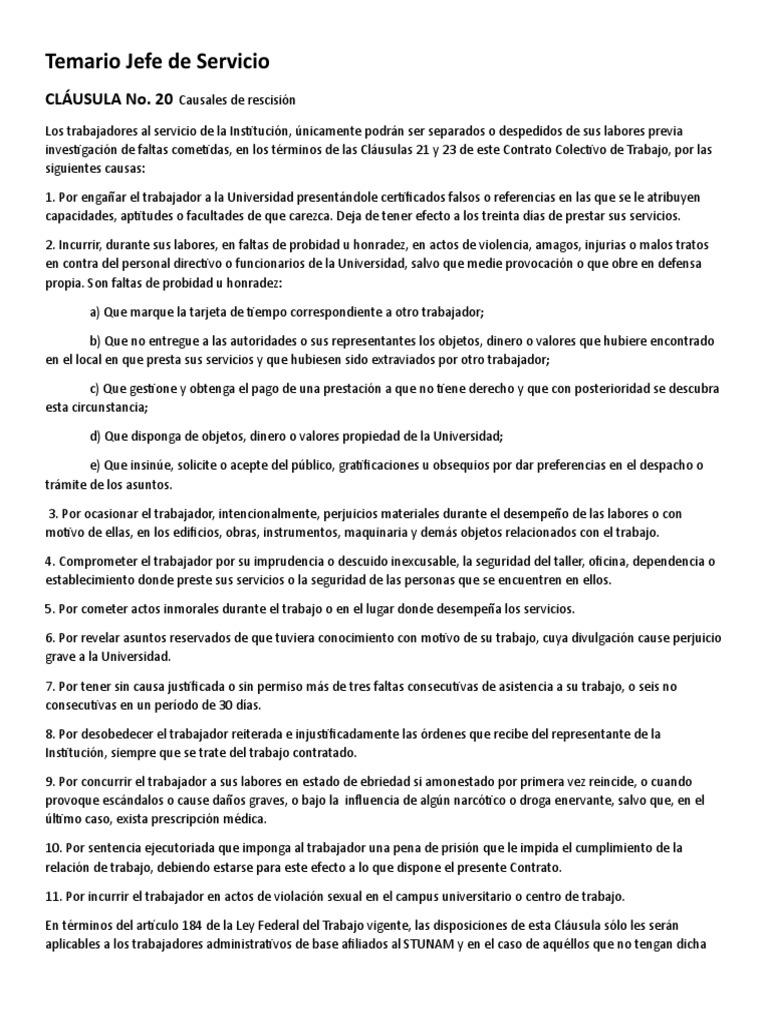 Temario Jefe de Servicio UNAM | Gobierno | Política