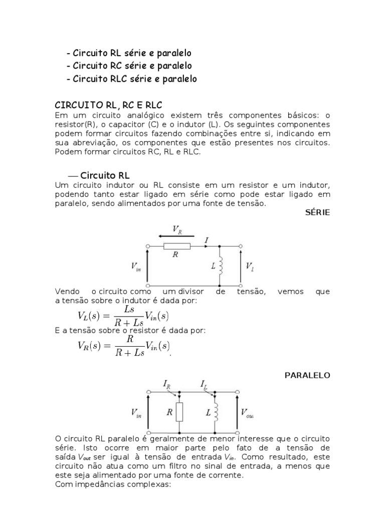 Circuito Rlc Serie Y Paralelo : Circuito rl rc e rlc série paralelo
