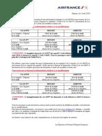 20190802 Communiqué de Presse - Modification Horaires Vols AF Du Vendredi 2 Août Et Du Dimanche 4 Août 2019
