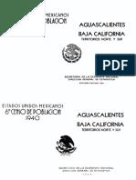 Censo 1940 Aguascalientes y Baja California