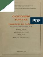 Crivillé (Ed.) - Cancionero popular de la provincia de Cáceres
