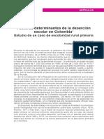 Factores determinantes de la deserción  escolar en Colombia