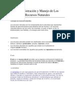 Administración y Manejo de Los Recursos Naturales