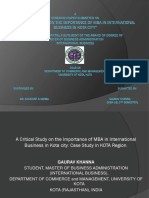 critical study on the significance of doing MBA  in Kota city