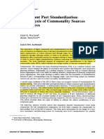 Component Part Standardization an Analysis of Commonality Sources and Indices