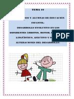 TEMA 10. los alumnos-as de educacion infantil desarrollo evolutivo