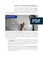 Mechanical Engineering – A Promising Field of Engineering