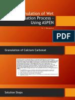 Simulation of Wet Granulation Process – Using ASPEN