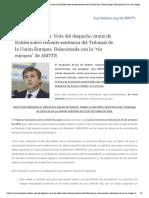 Asesoría Jurídica_ Nota del despacho Araúz de Robles sobre reciente sentencia del Tribunal de la Unión Europea. Relacionada con la _vía europea_ de AMYTS – Amyts