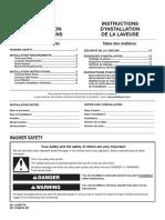 WASHER INSTALLATION INSTRUCTIONS W11156977A W11156978-SP