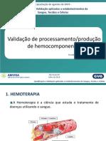 Validação de processamento/produção de hemocomponentes