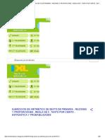 Ejercicios de Aritmetica de Sexto de Primaria _ Razones y Proporciones , Regla de 3 , Tanto Por Ciento , Estadistica y Probabilidades