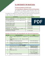 Haryana Activity Schedule (RP) CUCET 2019 Final 7-6-19