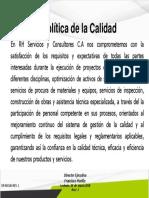DR-M01A4 REV. 1 Politica de La Calidad