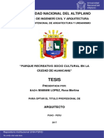 TESIS LOCAL UNA Parque Recreativo Socio Cultural en La Ciudad de Huancane