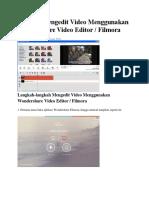 Tutorial Mengedit Video Menggunakan Wondershare Video Editor
