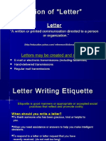 Letter Writing Lecture English 8 September 2018