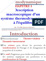 Thermodynamique-Chapitre 1-Description Macroscopique d'Un Systeme Thermodynamique à l'Equilibre